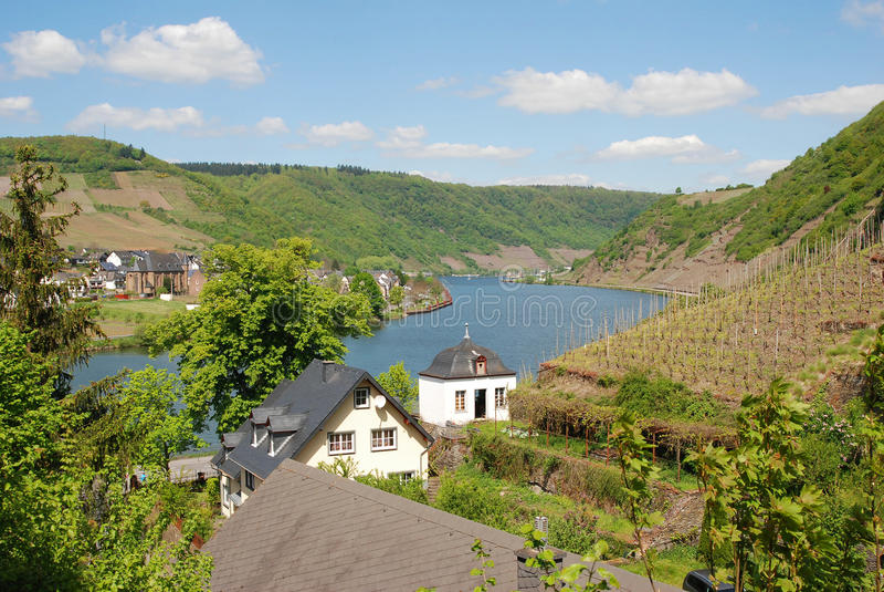 Mosel河看法从Beilstein德国的 免版税库存图片
