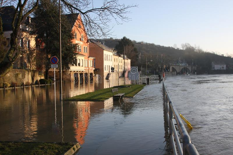 Flooding in Wasserbillig, Luxembourg, January 2018. The Moselle river flooding the town of Wasserbillig, Luxembourg, January 2018 stock photos