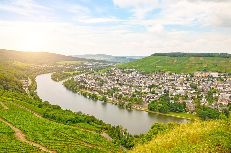 Moselle Valley Germany: View from Landshut Castle to the old town Bernkastel-Kues with vineyards and river Mosel in summer. Germany Europe stock photos