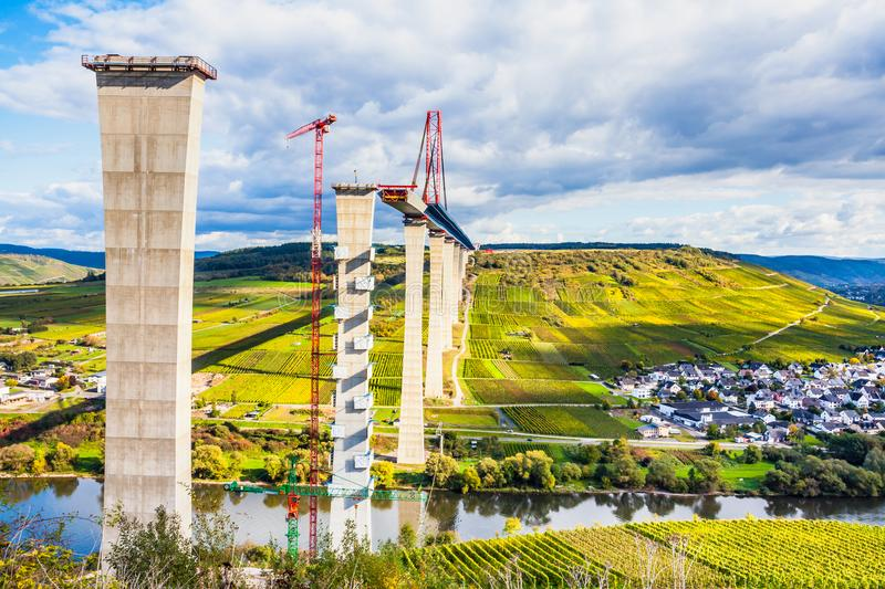 Moselle Vineyads and Hochmoselbruecke under constraction German. Moselle Vineyads Landscape and Hochmoselbruecke under constraction Germany stock photos