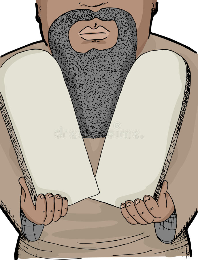 Moses. Illustration of Biblical Prophet Moses holding two blank stone tablets vector illustration
