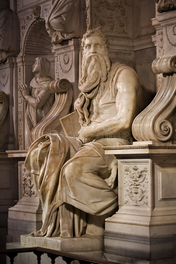 Moses. Michelangelo's Moses in San Pietro in Vincoli, Rome,Italy