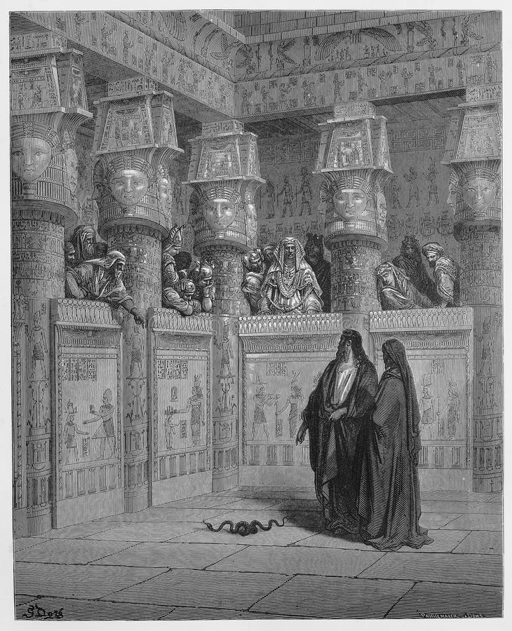 Moses and Aaron appear before Pharaoh. Picture from The Holy Scriptures, Old and New Testaments books collection published in 1885, Stuttgart-Germany