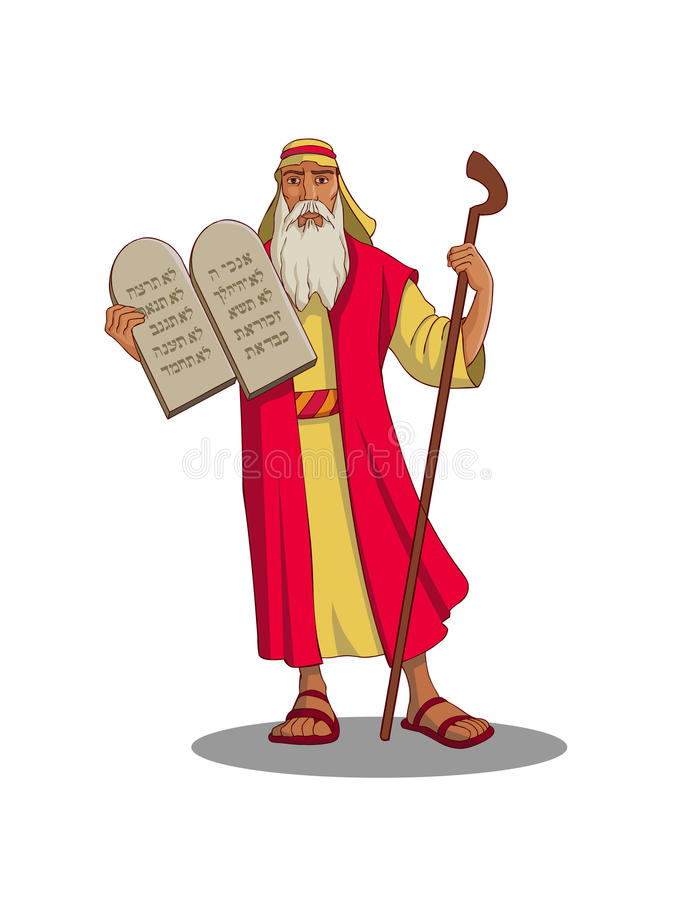 Moses. According to Jewish tradition, God`s first recitation and inscription of the ten commandments on the two tablets vector illustration