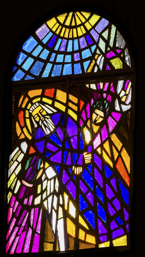 Moses Angels Stained Glass Memorial kyrka Moses Mount Nebo Jordan arkivbilder