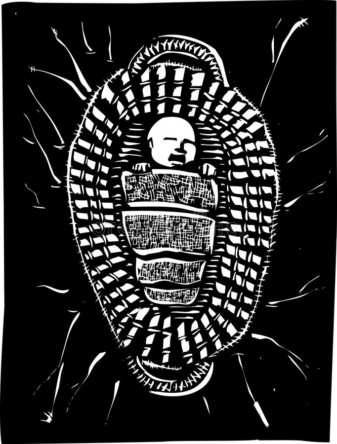 Moses Basket. Woodcut style image of the baby Biblical Prophet Moses floating in a basket royalty free illustration
