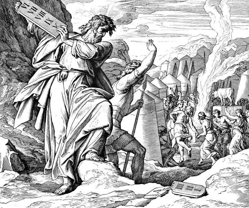 Moses Breaks 10 mandamientos fotografía de archivo