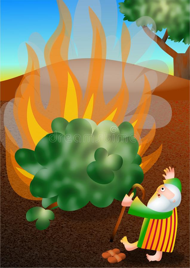 Moses and The Burning Bush. Really cute cartoon illustration of Moses standing in wonder and amazement as he sees the miraculous sight of the bush burning stock illustration