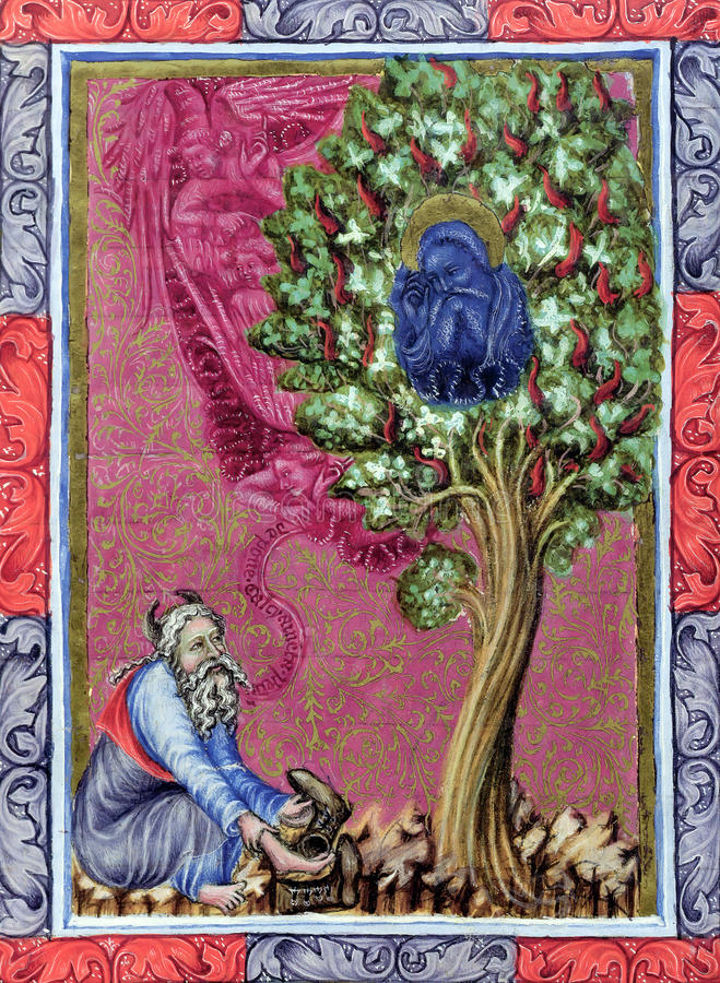 Moses and the Burning Bush. Biblical theme - Old Testament - Exodus 3. Reproduction of an illustration from Wenzel Bible (circa 14th-15th century), by an unknown vector illustration