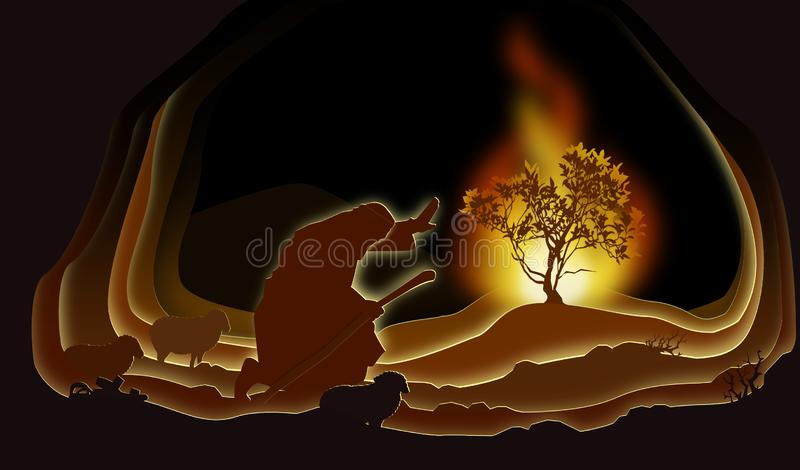 Moses and the Burning bush. Paper art. Abstract, illustration, minimalism. Biblical illustration royalty free illustration