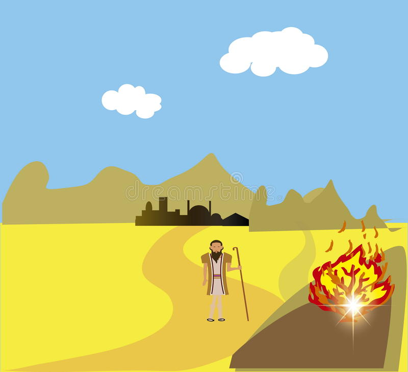 Moses At The Burning Bush. The burning bush is an object described by the Book of Exodus vector illustration