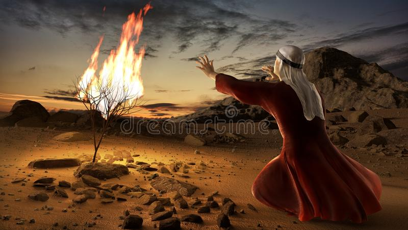 Moses and the burning bush. Story of book of exodus in bible. The shrub was on fire, but was not consumed by the flames vector illustration