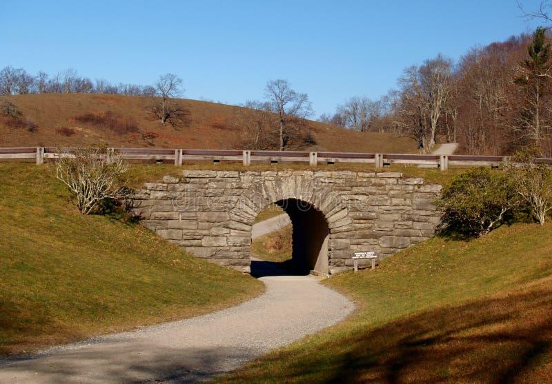 Moses Cone Memorial Park. A hiking trail passes under the Blue Ridge Parkway at Moses Cone Memorial Park, near Blowing Rock, North Carolina stock image