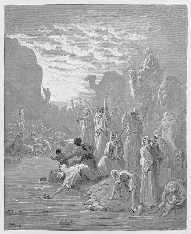 Moses, der den Felsen in Horeb schlägt stock abbildung