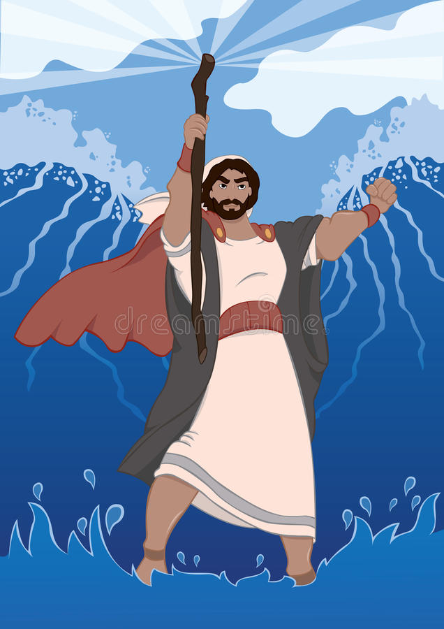Moses Dividing The Red Sea. Moses performs a miracle by dividing the red sea by the power of God to lead the children of Israel out of slavery of Egypt as it is vector illustration