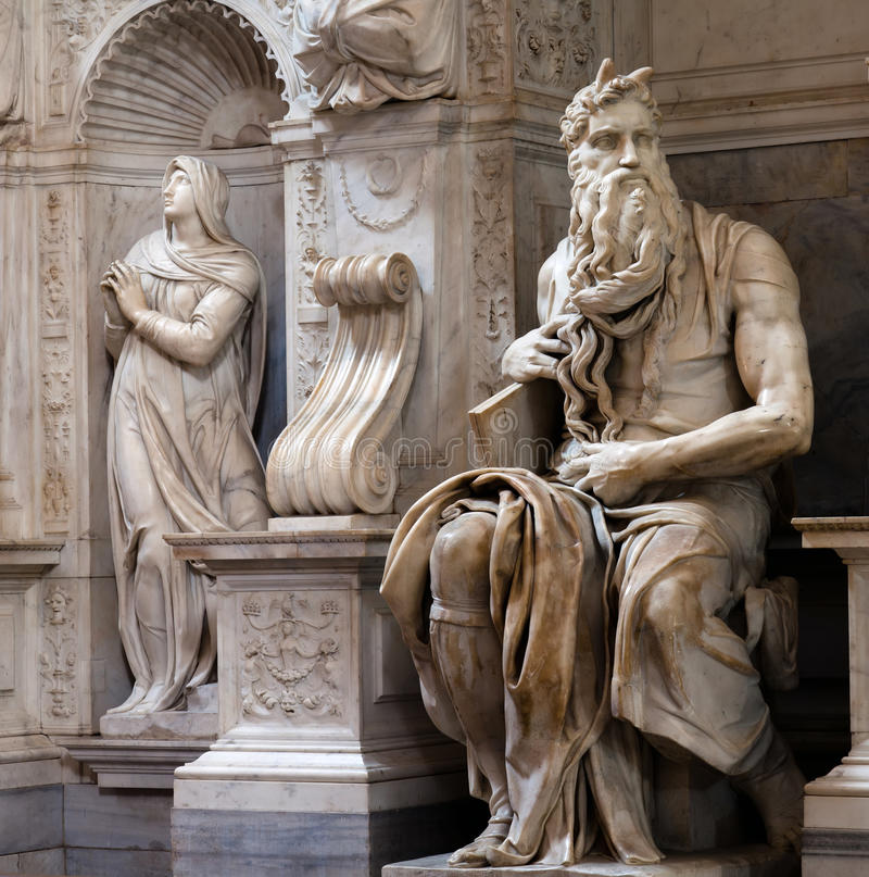 Moses durch Michelangelo stockfotos