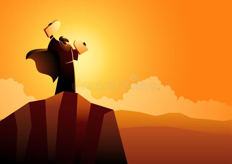 Moses e dieci ordini illustrazione di stock