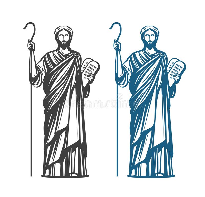 Moses holds in hand two stone tablets of covenant with ten commandments. Judaism religion, Jewish prophet symbol. Vector vector illustration