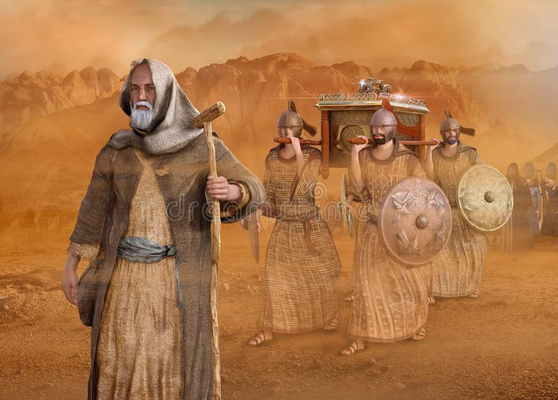 Moses leads the Isrealites through the desert Sinai Exodus. Biblical Moses leads the Isrealites through the desert Sinai during the Exodus, in the wilderness, in stock illustration