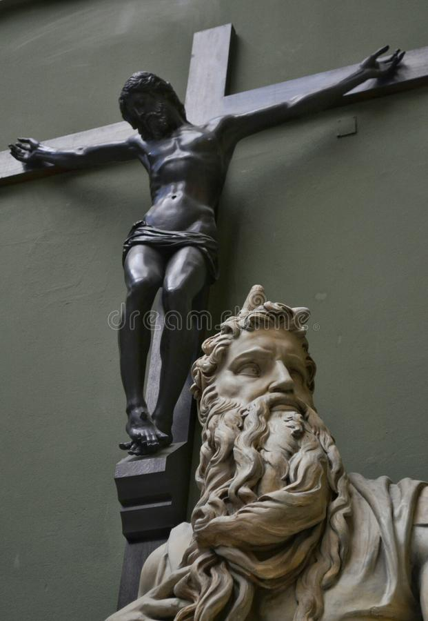 Moses Michelangelo Jesus Cross photo stock