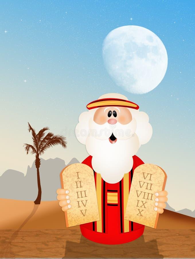 Moses mit Tabellen der zehn Gebote lizenzfreie abbildung