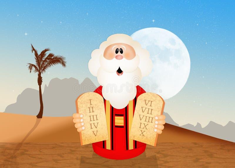 Moses mit Tabellen der zehn Gebote stock abbildung