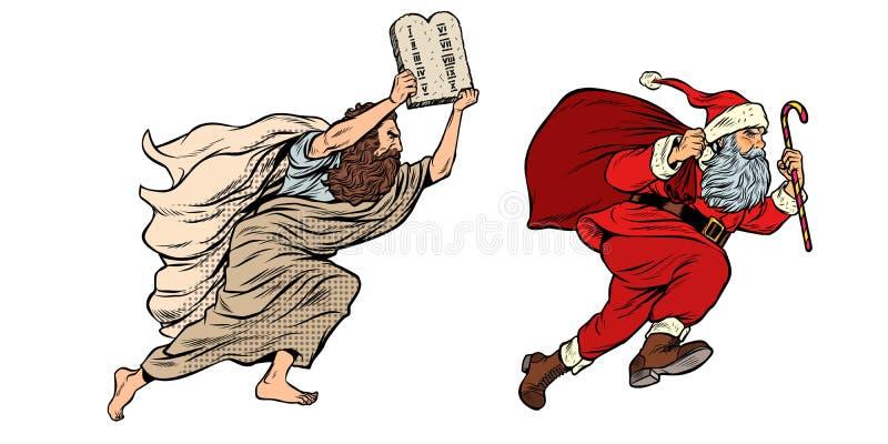 Moses och Santa Claus Ny tvist som är gammal och Kontra sekulär tradition stock illustrationer