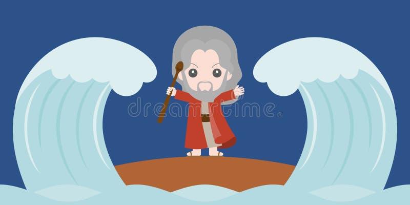 Moses que divide o Mar Vermelho em duas porções ilustração stock