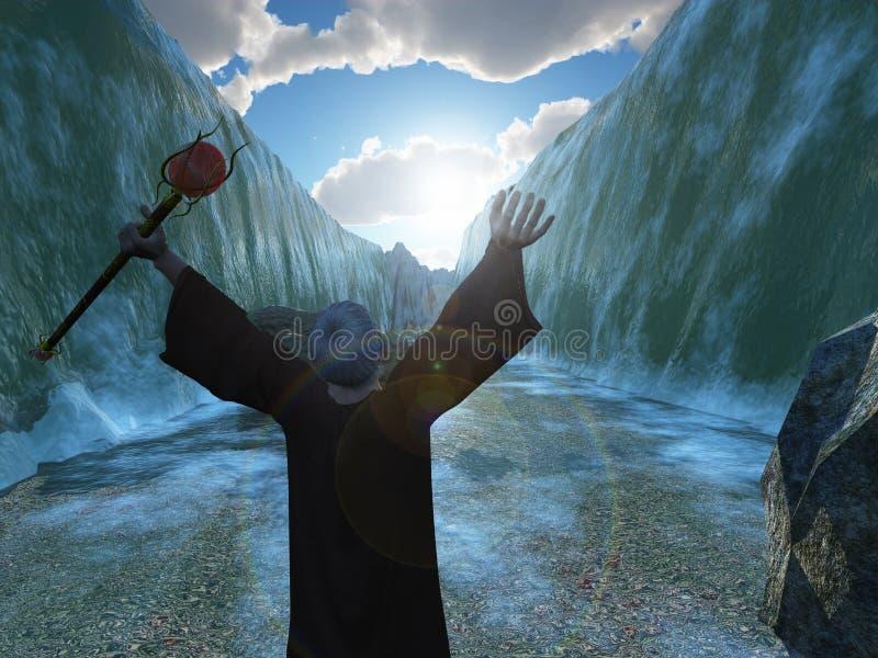 Moses que parte o Mar Vermelho ilustração do vetor