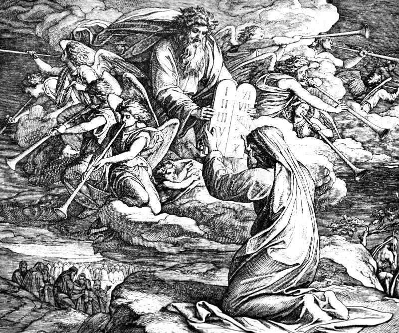 Moses Receives 10 mandamientos imagenes de archivo