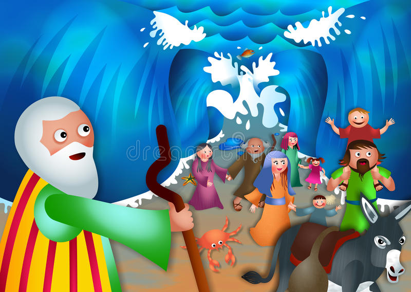 Moses and the Red Sea. A cartoon biblical illustration depicting the children of israel coming out of the other side of the red sea stock illustration