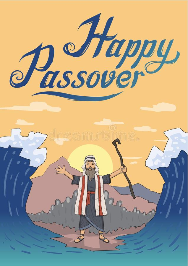 Moses separates sea for Passover holiday over mountain background. Exodus, Pesach card design template with lettering. Moses separates sea for Passover holiday vector illustration