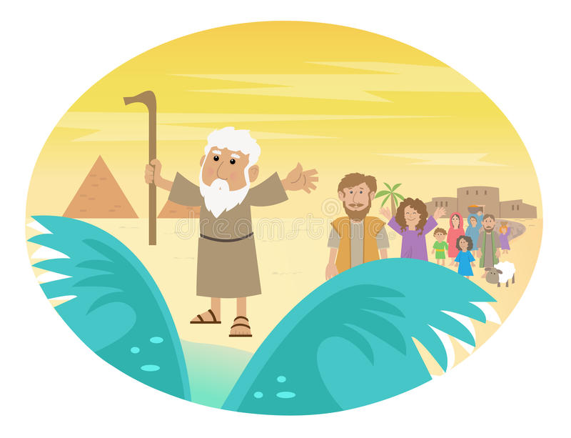 Moses Splitting The Sea. Cute cartoon of Moses splitting the red sea with the Israelite leaving Egypt. Eps10 vector illustration