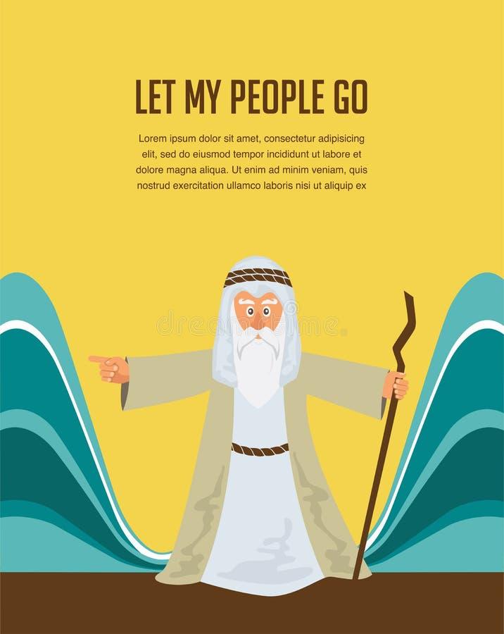 Moses Splitting The Sea - Mozes die het rode overzees met Israelitisch weggaand Egypte verdelen vector illustratie