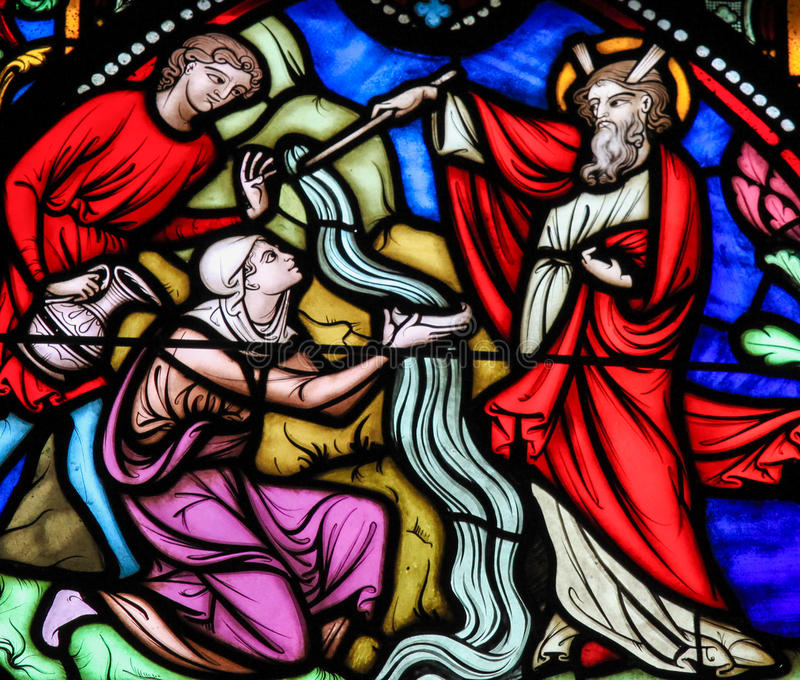 Moses striking Water from the Rock - Stained Glass royalty free stock image