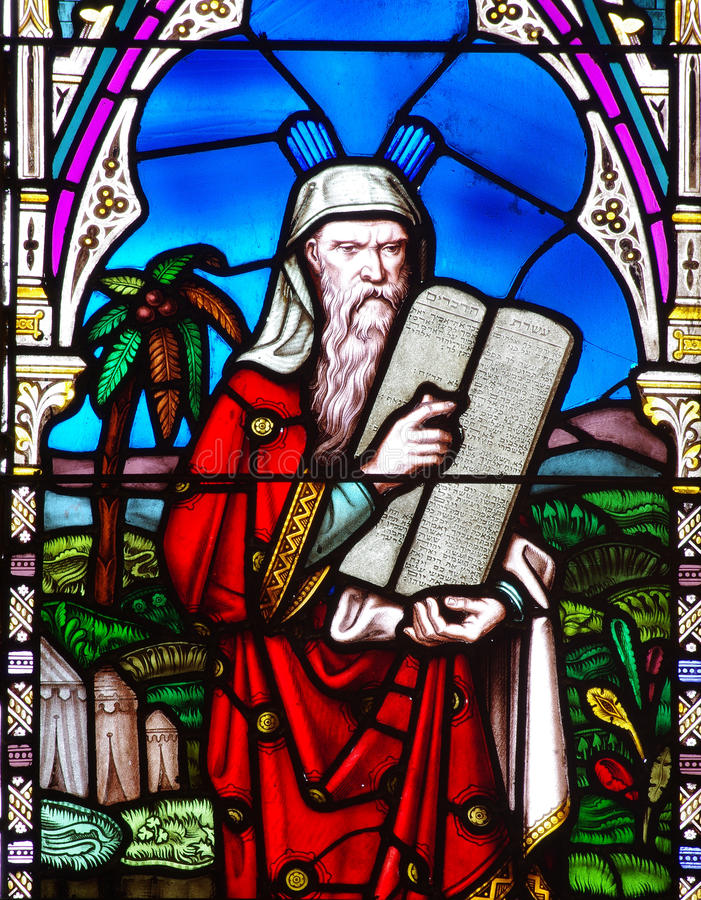 Moses and the Ten Commandments stock photos