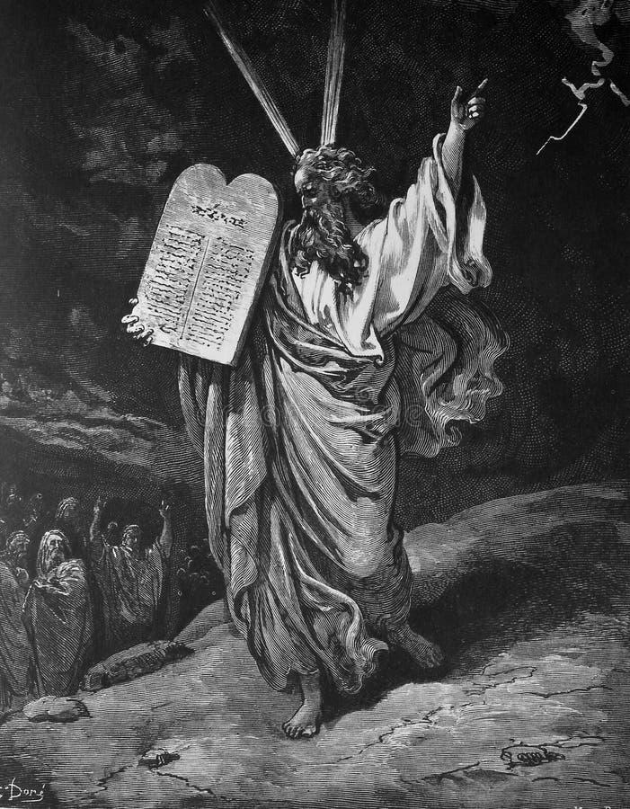 Moses und die Gebote lizenzfreie stockbilder
