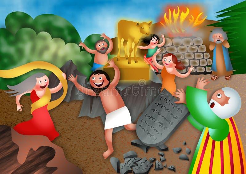 Moses y el becerro de oro stock de ilustración