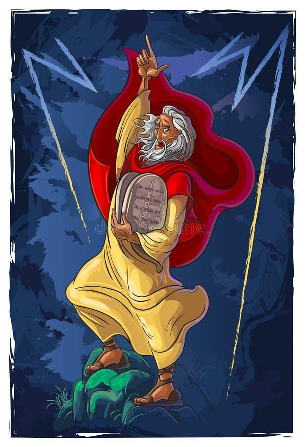 Moses y los diez mandamientos stock de ilustración