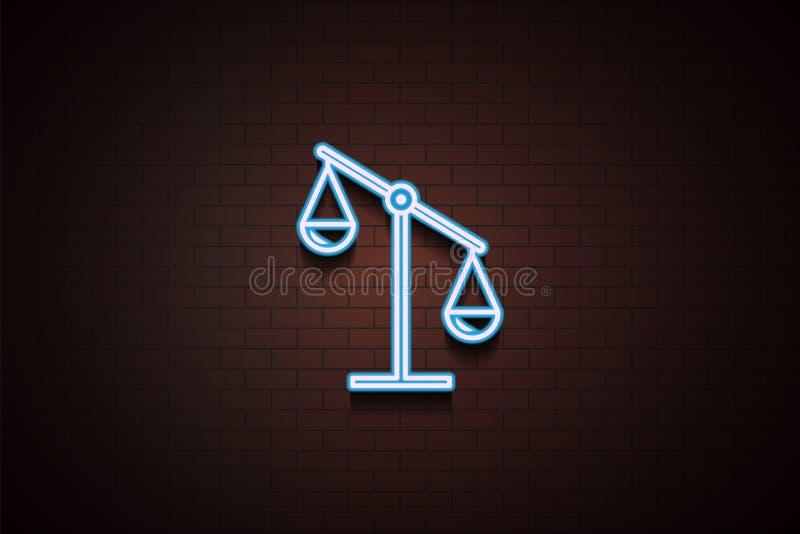 mosiądz waży ikonę w Neonowym royalty ilustracja