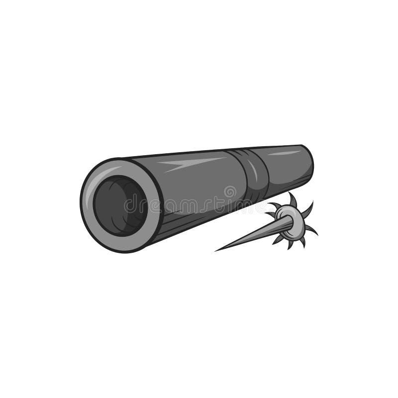 Mosiężna tubka z strzałki ikoną, czarny monochromu styl ilustracja wektor