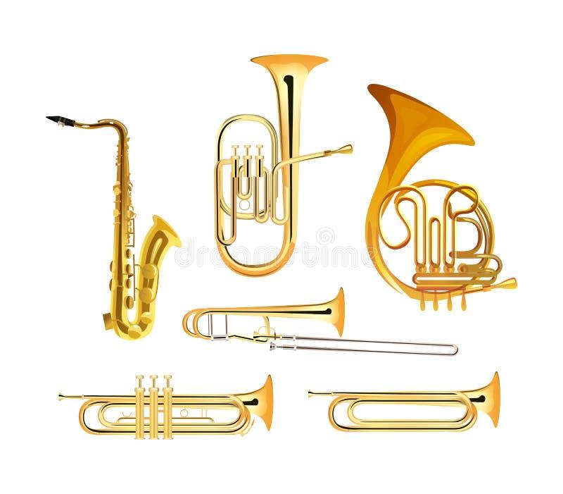 Mosiężnego wiatru orkiestry instrumenty muzyczni ilustracja wektor