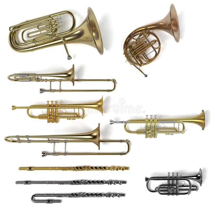 Mosiężni instrumenty muzyczni ilustracji