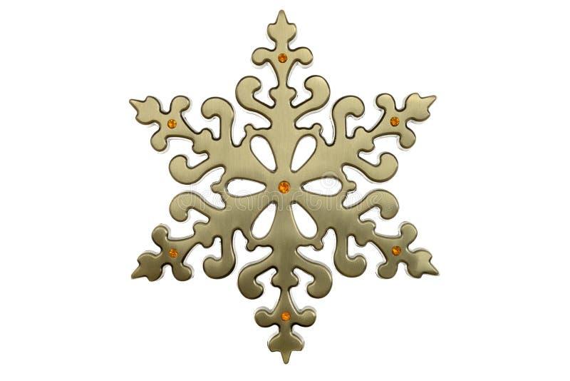 Mosiężny boże narodzenie płatek śniegu fotografia royalty free