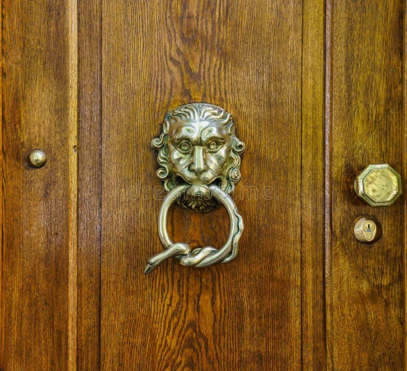 Mosiężny doorknocker, lew głowa i wąż pętli projekt, zdjęcia stock