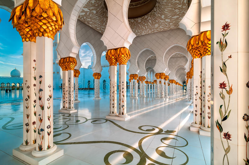 Moské Abu Dhabi, Förenade Arabemiraten arkivbilder