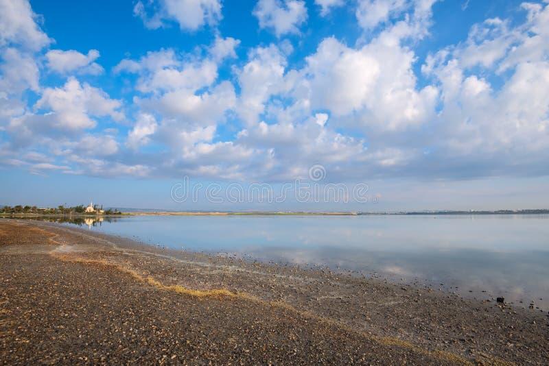 Moské av Hala Sultan Tekke på kusten av Larnaca den salta sjön royaltyfri foto