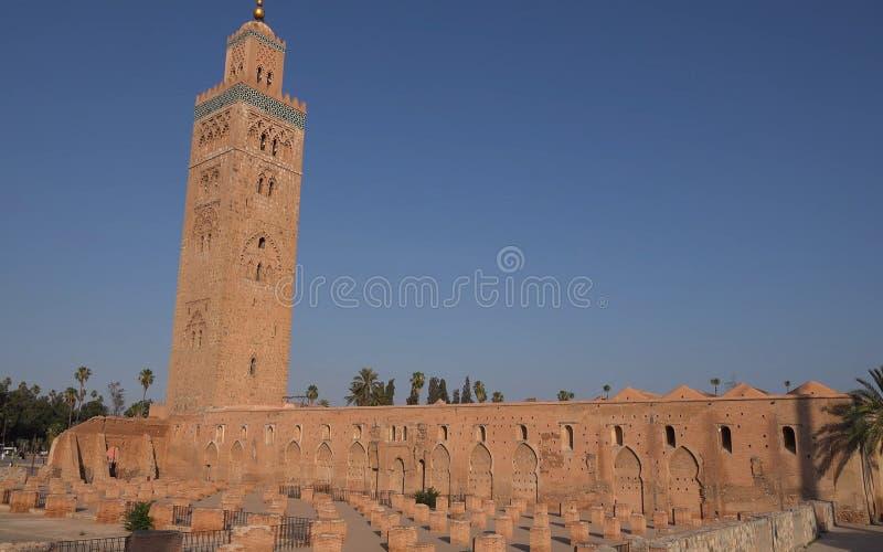 Moské av Koutoubia i staden av Marrakech i Marocko arkitekturislamique arkivfoto