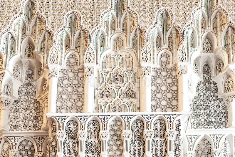 Moské för detaljkonung Hassan II, Casablanca arkivbilder