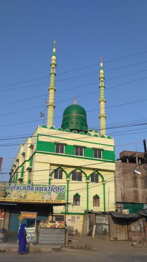 Moské för grön färg i Indien fotografering för bildbyråer